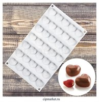 Форма силиконовая для муссовых тортов и выпечки Сердца, 35 ячеек. Размер: 30х17х1,5 см.