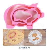 Формочка для пряников Свинка, набор из 3 шт. Размер: 9,5/6,8/4,2 см.