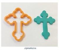 Вырубка Крест резной. Материал: пластик. Размер: 8 см.