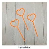 Топперы для капкейков Сердца оранжевые, набор из 3 шт. Материал: пластик. Размер: 9*3,5 см.