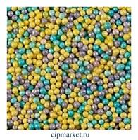 Посыпка шарики микс лилово-жёлто-голубые, 2 мм. Вес: 50 гр.
