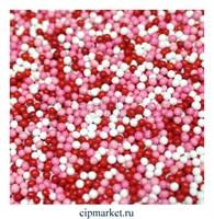 Посыпка шарики микс №9 бело-розово-красные, 2 мм, вес: 50 гр
