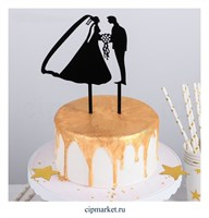 Топпер на торт Молодожены, материал: пластик. Размер: 12х12 см.