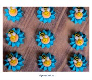 Фигурка сахарная Пчелка на цветке. Размер: 3 см