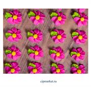 Фигурка сахарная Цветок шестилепестковый. Цвет микс. Набор 5 шт. Размер: 2 см