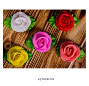 Фигурка сахарная Роза малая с листьями. Цвет микс. Размер: 5 см