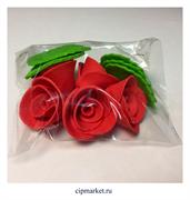 Украшение сахарное Роза Красная. Набор 5 шт. Высота:5 см