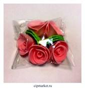 Украшение сахарное Роза Розовая. Набор 5 шт. Высота: 5 см