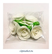 Украшение сахарное Роза Белая. Набор 5 шт. Высота 5 см