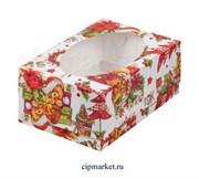 Коробка на 6 капкейков с окном XMAS РК (Новый год). Размер: 23,5 х16 х10 см