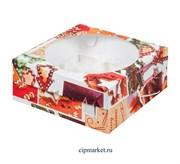 Коробка на 9 капкейков с окном Пряник РК (Новый год). Размер: 23.5 х 23.5 х 10 см