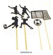 Топпер бумажный Футбол (Черный), 6 предметов. Размер: 9 см