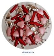 Посыпка-драже сахарное BIAMIX Микс Красно-Розовый в серебре. Вес: 30 гр, Греция