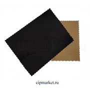 Подложка 30*40 см прямоугольная фигурная черно-золотая, 3,2 мм. Картон ламинированный