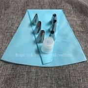 Набор кондитерский для работы с кремом: мешок силиконовый+6 насадок+переходник.