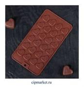 Форма для шоколада и конфет Сердечки, 24 ячейки, Размер: 21*11 см