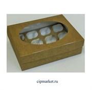 Коробка на 12 капкейков с окном ЮП Крафт, картон. Размер: 35 х 25 х10 см
