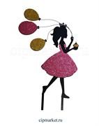 Топпер пластик СТ Блеск Девочка с шариками (Цвет микс). Размер фигурки:18*13 см