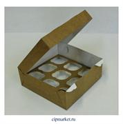 Коробка на 9 капкейков с окном ЮП Крафт, картон. Размер: 25 х 25 х10 см