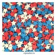 Посыпка Звезды красно-бело-синие. Вес: 50 гр.