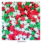 Посыпка Звезды красно-бело-зеленые. Вес: 50 гр.