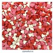 Посыпка Сердца красно-бело-розовые Мини. Вес: 50 гр