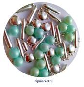 Посыпка-драже сахарное BIAMIX Микс Голубо-бирюзовый жемчуг с серебром. Вес: 30 гр, Греция