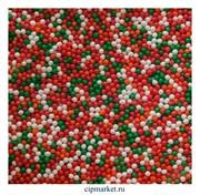 Посыпка шарики микс №8  красно-оранжево-бело-зеленый, 2 мм, вес: 50 гр