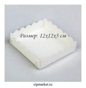 Коробка для пряников с прозрачной крышкой РК Белая. Размер:12 х12 х3 см