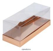 Коробка для рулета с окном и пластиковой крышкой Премиум РК Золото. Размер: 30 х 12 х 12 см