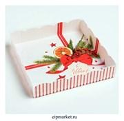 Коробка для пряников и печенья с прозрачной крышкой С Новым годом (Бант, полоска). Размер: 15*15*3 см
