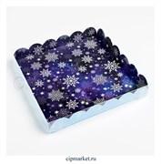 Коробка для пряников и печенья с прозрачной крышкой Снежинки (Синий/голубой фон). Размер: 21*21*3 см