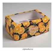 Коробка на 6 капкейков с окном Апельсины (Новый год). Размер: 25 х17 х10 см