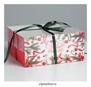 Коробка на 4 капкейка с прозрачной крышкой Ягоды (Новый год). Размер: 16 х16 х7,5 см