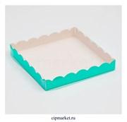 Коробка для пряников с прозрачной крышкой Мятная. Размер: 20 х20 х3 см