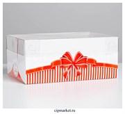 Коробка на 6 капкейков с прозрачной крышкой С любовью (Красный бант). Размер: 23 х16 х10 см