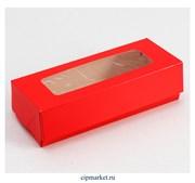 Коробка для пряников с прозрачной крышкой Красная. Размер: 17 х7 х4 см