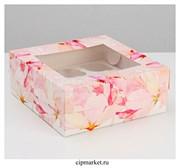 Коробка на 9 капкейков с окном Цветы. Размер: 25 х 25 х10 см