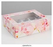 Коробка на 12 капкейков с окном Цветы. Размер: 32,5 х 25,5 х10 см
