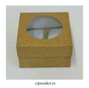 Коробка на 4 капкейка с окном ЮП Крафт Ромашка. Размер: 16х16х10 см