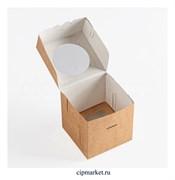 Коробка на 1 капкейк с окном БП Крафт, картон. Размер: 10х10х10 см