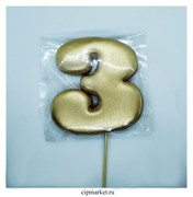 Пряник медовый Топпер Цифра 3. Размер: 10,5 см. Вес: 50 гр.