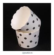 Стаканчики бумажные для кексов Белые в горох, набор 10 шт. Размер: 5х4,5 см