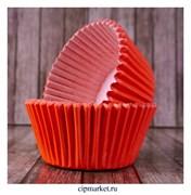 Формы бумажные для кексов Красные, набор 50 шт. Размер: 5х3,5 см