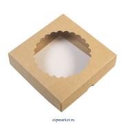Коробка для пряников и сладостей с окном Крафт Ромашка. Размер : 12х12х3 см