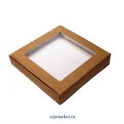 Коробка для пряников и сладостей Крафт с окном. Размер:16х16х3 см