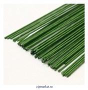 Проволока зеленая флористическая в оплетке 0,9 мм, длина: 36 см, 20 шт (№22)