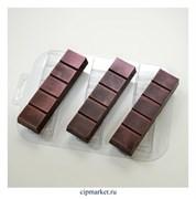 Форма для шоколада Батончик простой, пластик. Размер формы: 17,5х13,5 см, плитки: 12х3 см
