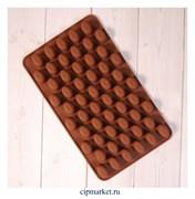 Форма для шоколада и конфет Кофейные зерна. Размер: 19х11 см, 55 ячеек